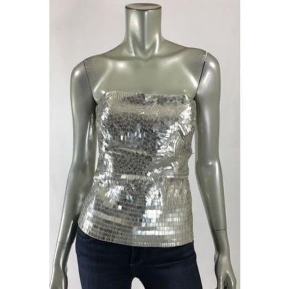 822cd5af37f Alice + Olivia Tops - Alice + Olivia size 8 Silver Sequin Strapless Top